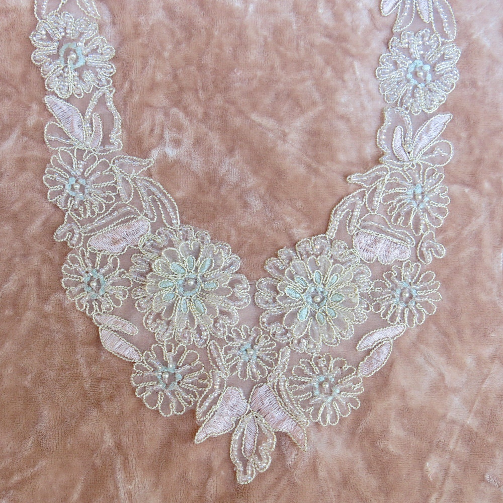 Faux beaded vintage lace