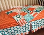 Custom Dots & Chevron MOD Orange Turquoise and White Baby Nursery Bumperless Crib Bedding Set MADE To ORDER