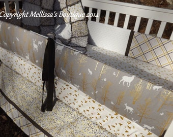 Rustic Deer Nature Brown/Taupe and Gold Metallic Baby Nursery 4-Piece Crib Bedding Set made with Designer Fabrics MADE To ORDER