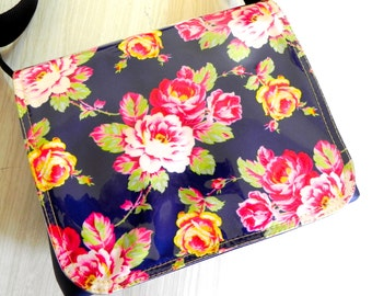 Bright pink and navy floral summer cross body bag