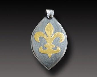 Fleur de Lys Keum Boo Pendant New Orleans Necklace