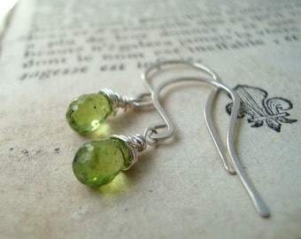 Tiny Faceted Droplet Peridot Earrings Sterling Silver August Birthstone Lime Drops Gifts under 50 Gemstone Jewelry Bridesmaid Earrings