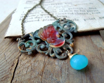 Red Rainbow Cameo Necklace with Blue Chalcedony Brass Jewelry Steampunk Victorian Edwardian Statement Jewelry
