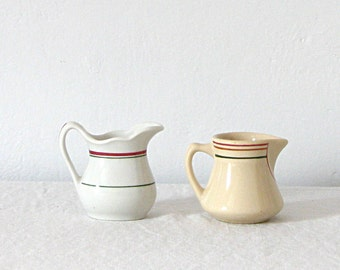 Pitcher Vintage Cream Striped Ironstone Pitchers Creamers Small Set of 2 Holdiay Decor Holiday Table