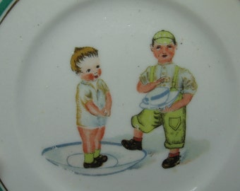 Pair of Porcelain Children's Play Dishes with Dolls