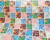 Rag Quilt, Floral Quilt, Blue, Brown, Yellow, Green, Pink, Large Lap Quilt, Rag Lap Quilt, Floral Quilt, Handmade