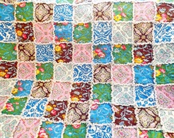Rag Quilt - Floral Quilt - Blue Brown Yellow Green Pink - Large Lap Quilt - Rag Lap Quilt - Floral Quilt - Handmade