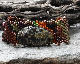 Jewelry - Free Form Peyote Stitch Beaded Bracelet  - I am - Bead Weaving - Handmade Glass Pendant - DISCOUNTED