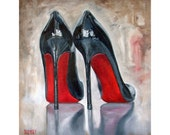 """Luscious Black high heels with gorgeous red backs """"Nails"""" Print"""