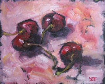 CHERRIES IN PINK. Oil Painting, Vermont country art, Archival Print of original painting 8 by 10 and other sizes available