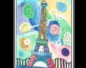 Eiffel Tower Watercolor Painting Card Colorful OOAK