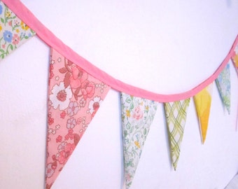 Kit to Make Vintage Floral Fabric Bunting Banner Party Decoration Nursery Decor or Photo Prop