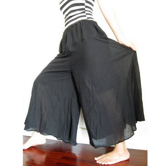 Boho Hippie Black  Soft Cotton drawstring waist  Wide legs  Pants (P01)