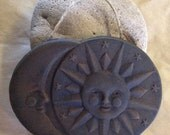 Primitive - Rustic - Blackened Beeswax SUN And MOON Ornament - Folk Art - Handmade - Scented - Cinnamon Rubbed - Spicy