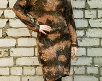 Brown dress, brown and sand kimono japanese style longsleeve dress, cowl dress, lycra dress, sand print dress, textured fabric dress MASQ