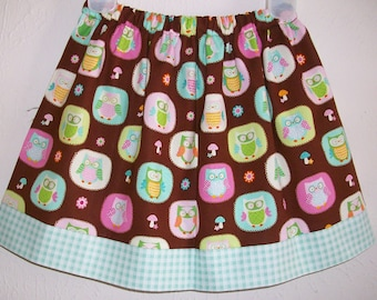 Owl Skirt Girls Skirt with Owls Girls Skirts Forest Animals Spring Skirts with Flowers toddler skirts Owl Birthday Owl Party Woodland Party