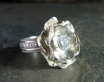 Rose ring flower ring cocktail ring sterling silver nature jewelry garden metalsmith Moissanite - Winter Rose
