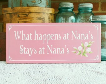 What happens at Nana's Wood Sign Grandmother Mother's Day Saying Hand Painted Roses