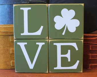 Shamrock LOVE Shelf Sitter Blocks Sign Irish St. Patrick's Day Stacking Blocks