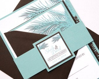 Sea Green Palm Tree Invitation and RSVP Beach Destination Wedding Suite