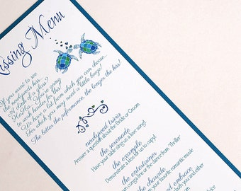 Kissing Sea Turtles Wedding Kissing Menu