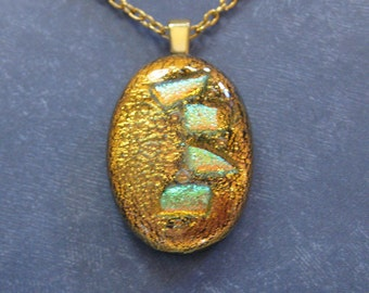Unique Gifts Under 20, One of a Kind, Dichroic Copper Necklace, Dichroic Fused Glass Jewelry, Gift for Her - Inez - 3313 -4