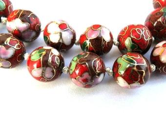 7 Vintage beads, cloisonne enamel, red, 12.5mm