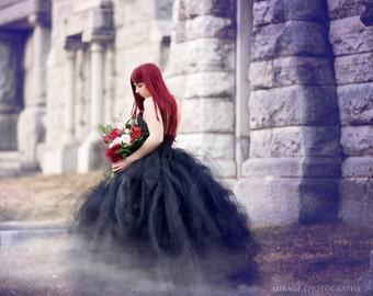 Bridal Tutu Dress Alternative Dress Skirt Gothic Dress Black Tulle Dress Skirt Wedding Tutu Women's Boho Skirt Bridal Tulle Skirt