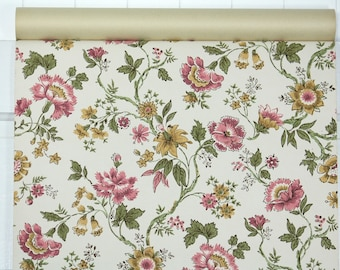 1960's Vintage Wallpaper - Vintage Wallpaper Pink and Yellow Floral Chintz on White