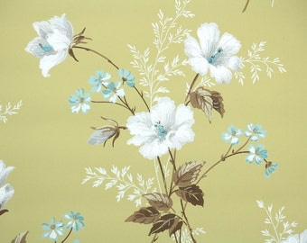 1940s Vintage Wallpaper by the Yard - Blue and White Flowers on Mustard Yellow, Floral Wallpaper