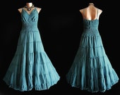 Long Blue GYPSY PRINCESS Smock Maxi Dress Hippie Boho  Plus Size 22 24 3X