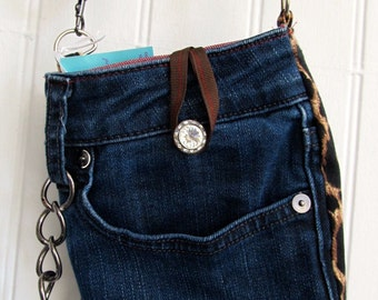 Upcycled Jeans and Leopard Pouch