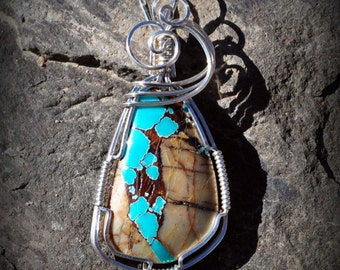 R2 AAA Royston boulder turquoise wire wrapped gemstone pendant sterling