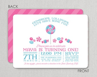 Candy Party Birthday Invitations - Candy invites - Sweet Shop Invitations