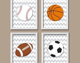 SPORTS Wall Art, CANVAS or Prints Boy Nursery Kid Child Balls Soccer Football Baseball Basketball Chevron Pattern Set of 4 Baby Bedroom