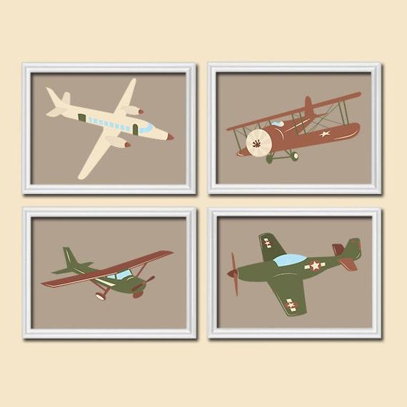 Airplane Wall Decor Nursery : Airplanes wall art canvas or prints boy nursery by trmdesign