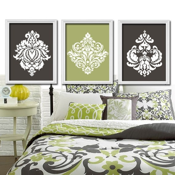 Olive Green Wall: Charcoal Gray Olive Green Bedroom Pictures CANVAS Or By