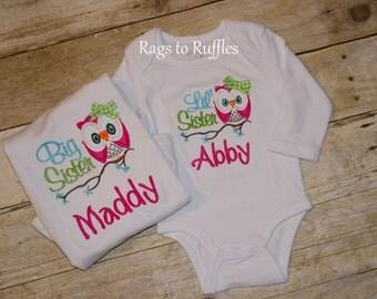 Big Sister owl shirt Little sister shirt Little sis Big Sis