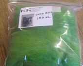 Hand Carded Lime green batt