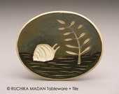 Snail & Fern- little oval dish- Ruchika Madan