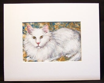"Original Watercolor and Gouache Painting - White Cat - 5""x7"" Painting in 8""x10"" Mat - Cat Art - Home Decor - Cat Painting"