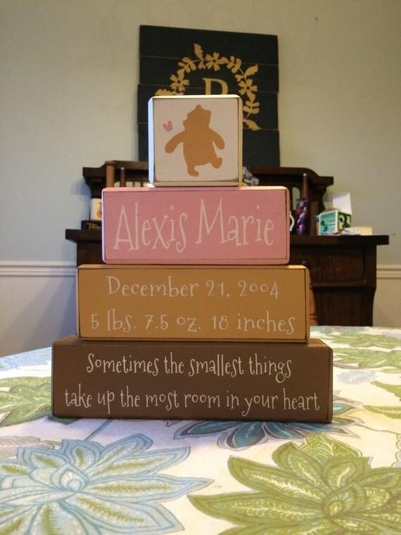 classic winnie the pooh nursery birth announcement wood blocks – Winnie the Pooh Birth Announcements