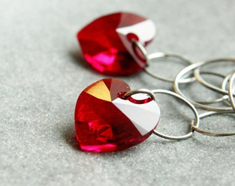 Red Heart Earrings Swarovski Crystal Jewelry Oxidized Silver  Romantic Gifts For Girlfriend Valentines