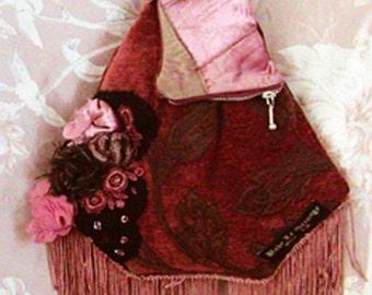 OOAK wood rose patchwork fringe carpet bag with shoulder strap
