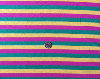 Bright stripe on cotton interlock knit fabric 1 yd