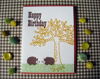 Letterpress Card - hedgehog birthday