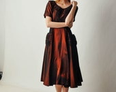 Vintage Ruched Maroon Party Dress