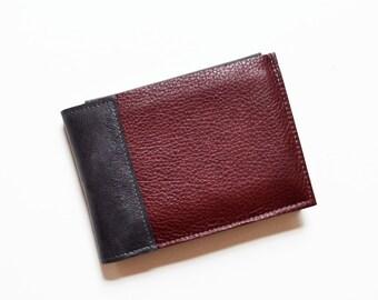 Bifold Leather Wallet Men, Mens Wallet, Guys Leather Wallet, ID Holder Wallet, Gift for HIm, Boyfriend Gift - The Wesley Wallet in Burgundy