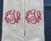 Mongrammed Hand/Kitchen Towels- Curly Round Font - Set of 2 - Custom Orders Welcome