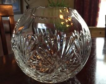 Large Crystal Rose Bowl Notched Trim Fan Design Wedding TYCAALAK
